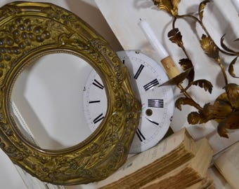 Antique French Brass Clock Face Freeze - Handmade Grape/Vineyard Design Clock Face Freeze, French Shabby, French Romantic, French Salvage