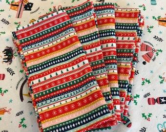 Christmas stripe Napkins x 6 - fabric napkins - christmas napkins - modern christmas decor - fun christmas napkins - christmas table