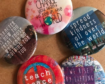 Change the World Set, Backpack Pin Sale, Discount Bulk Badges Pins Boho Buttons, Punk Pins, Peace, Be The Change