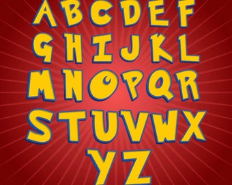 Pokemon - Alphabet Clipart - 74 png files 300 dpi for your Pokemon Party