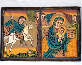 Large Ethiopian Coptic Christian Icon,Beautifully Painted Hand Carved folding wooden Icon. 19th Century,Prayer Icon,Ethiopian Religious Art