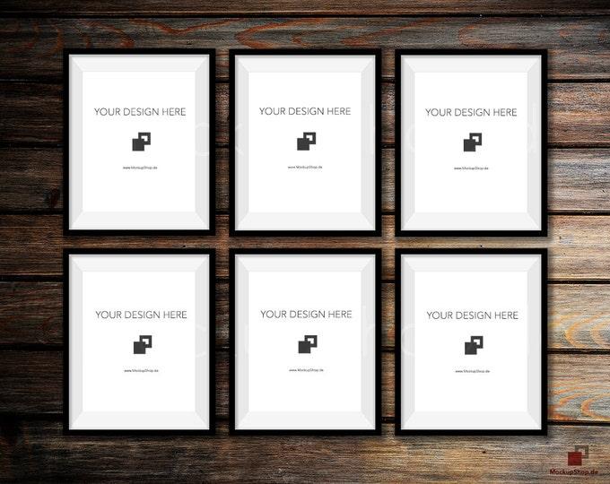 BLACK FRAME MOCKUP, Set of 6, Empty Mockup Frame, Black Frame Mock-Up, Digital Frame Mockup for download, Frame Mockup, Download File
