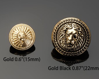 """Lion Buttons Gold Black Custom Bead Luxury OverCoat Sewing DIY 0.87""""(22mm)- o10"""
