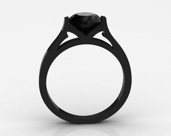 18k Black Gold Elegant and Modern Wedding or Engagement Ring for Women with a Black Diamond Center Stone Item# WR-0370