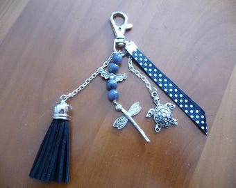 Dragonfly bag, turtle jewelry, tassel