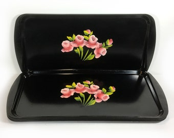 Vintage Black Plastic Tray, Hand-Painted Pink Roses