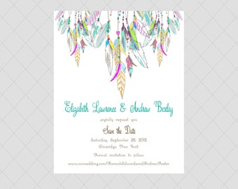 Whimsical Feather Save the Date Cards