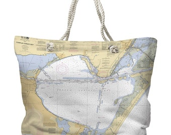 TX: Corpus Christi Bay, TX Nautical Chart Tote Bag, Travel Themed Tote Bag, Map Tote Bag, Nautical Tote Bag