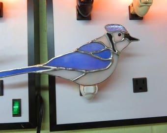 Bird Nightlights - Blue Jay Stained Glass Night Light - Blue Jay - Robin - Ready to Ship - Already Made