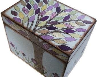 Recipe Box Decoupaged Purple-Green Tree Wedding Shower Box, Handcrafted  Storage, Organization Holds 4x6 Recipe Cards MADE TO ORDER
