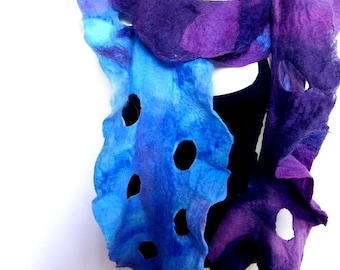 Felted Scarf, Ruffled Wavy, Purple Turquoise Sky Blue, Scarf With Holes, Merino Wool Mohair, Gift Under 70