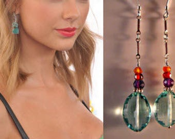 Gemstone Dangle Earrings,gemstone drop earrings,gemstone earrings,silver earrings,dangle earrings,drop earrings,multi gemstone earrings