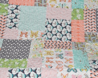 Modern Patchwork Lap Quilt Sofa Quilt Throw Quilt Art Gallery Winged Fabric Collection by Bonnie Christine Boho Chic Quilt Handmade Custom