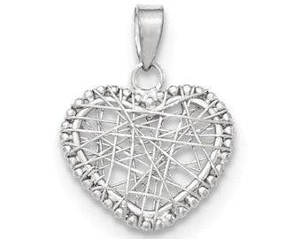 14K White Gold Heart Open Wire Mesh Contemporary Modern Small 3D Pendant Charm LKQK5173