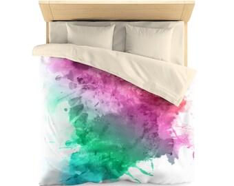 Watercolor stain, modern duvet cover, bedroom decor