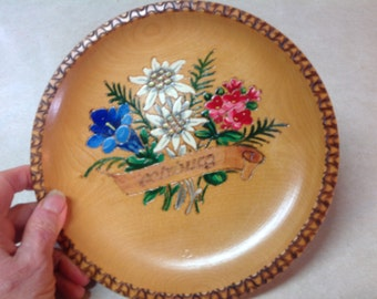 "Toleware wood plate, Vintage hand painted toleware, wood plate, Salzburg souvenir, flower plate, 8"" plate, hand painted wood, toleware"