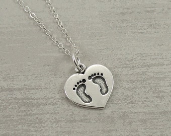 Heart with Baby Feet Necklace, Sterling Silver Baby Footprints Charm on a Silver Cable Chain