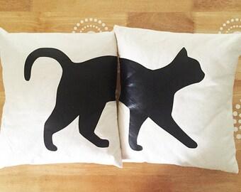 Cat Throw Pillows (Set of 2), Black Cat Throw Pillows, Cute Cat Throw Pillows, Split Set Pillows