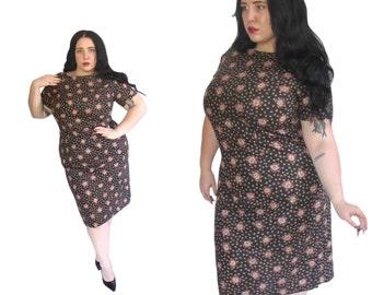 Plus Size Dress l Handmade 1960's Cotton Wiggle Dress l Size XL l Vintage Dress
