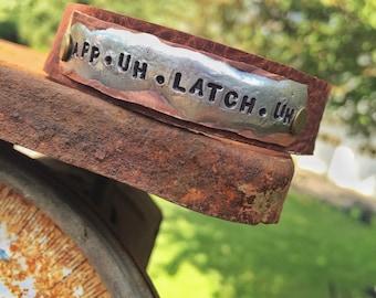 Appalachia prounounciation App-uh-latch-uh  thin leather cuff bracelet