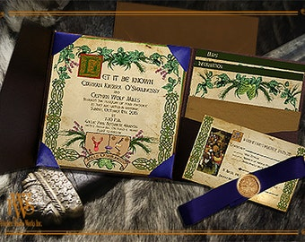 Celtic Wedding Invitation with place for family crests-medieval handfast or reenactment style