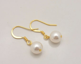 Gold Pearl Earrings, Pearl Drop Earrings, Gold Earrings, Pearl Bridesmaid Earrings, Gold Bridesmaid Earrings, Gold Bridal Earrings 0328