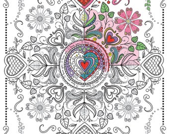 Adult Coloring page Valentine Mandala to color, Downloadable print to color, Fun design to color for all ages 11x14