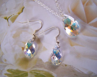 Crystal Jewelry Set Swarovski Tear Drop