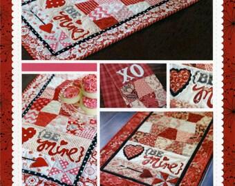 Valentine Table Runner Pattern Be Mine KD149 Kimberbell, Valentine Tea Towel Pattern, Valentines Day Pattern