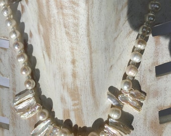 White Heishi and Fresh Water Pearl Necklace