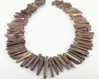 15.5 inches of strand,Rough Mystic Titanium Bronzed Quartz Crystal Cut Points Beads Pendant,Approx 70pcs