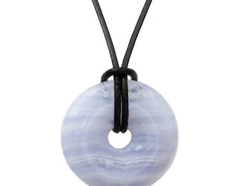 Donut pi-Chinese 30mm - blue chalcedony pendant necklace