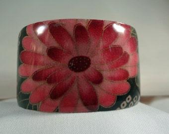SALE BRACELET-Pink Flower Wide Cuff Bracelet, Resin, Fabric, Metal, Jewelry, Accessories (CCB173)