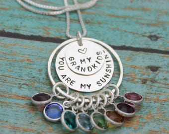 Personalized Grandmother Necklace, You Are My Sunshine Grandma Necklace, Hand Stamped Jewelry, Grandchildren Birthstones, Gifts for Her