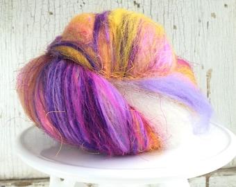 Art batt, fiber batt, spinning, felting, 1.5 ounces, purple, yellow