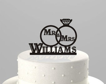 Wedding Cake Topper of a Wedding Ring Set with Mr & Mrs, and Personalized with your Name, Acrylic Cake Topper [CT72a]