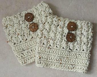 Women's Boot Cuffs - Beige Tweed - Crochet Boot Cuffs - Medium - Large - Plus Size