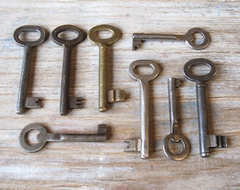 vintage skeleton keys - 8 genuine vintage iron and brass keys - wall decor, skeleton keys (S-16b)