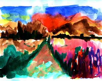 abstract landscape wall art decor print poster watercolor panting, abstract watercolor art print