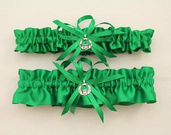 Green Satin Wedding Garter with Claddagh Charm (Your Choice, Single or Set)