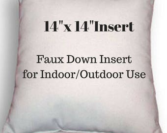 """Pillow Form - 14"""" x 14"""" Pillow Insert - Indoor or Outdoor Use - Faux Down Insert for Your Patio or Home Decor Use"""