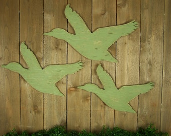 Wooden Flying Geese Wildlife Art Rustic Home Decor Baby Hunting Nursery Art Duck Hunting Decor Canadian Geese Cabin Decor Lake House Decor