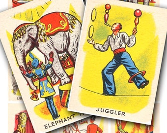 circus cards collage sheet, from vintage 1940's playing cards, digital download  no. 139