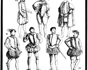 Men's Elizabethan Garments circa 1558-1605 size 34-54 - Period Patterns Sewing Pattern #58