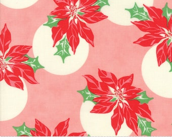 Swell Christmas by Urban Chiks for Moda, #31121-12, Pink Poinsettia, Vintage Santa, Christmas Fabric, Christmas in July, IN STOCK