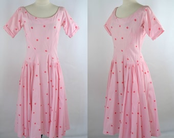 1960s Pink and White Gingham Fit and Flare, Circle Skirt Dress, Dark Pink Polka Dots