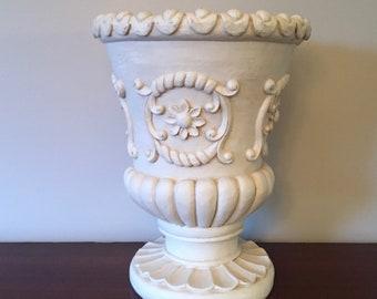 Large white urn for wedding decor table scape, shelf - cottage bungalow southern style shabby chic - vase