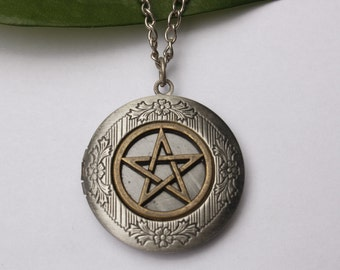 Pentacle Locket Necklace Gothic Pentacle Charm Medieval Fantasy Locket Necklace Pentagram Locket Necklace