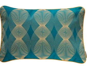 Pillow cover graphic lines, petrol/apricot, 60 x 40 cm (without filling)