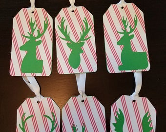 Reindeer Holiday Rectangle Gift Tags Set of 6 Set #04